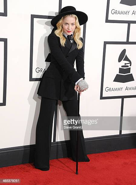 Madonna arrivals at the 56th GRAMMY Awards on January 26 2014 in Los Angeles California
