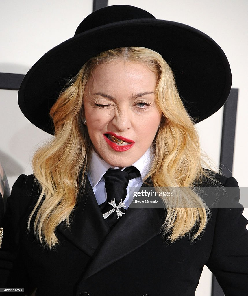 Madonna arrivals at the 56th GRAMMY Awards on January 26, 2014 in Los Angeles, California.