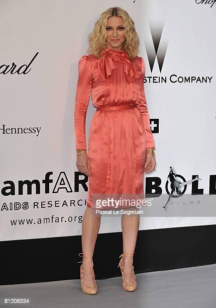 Madonna arrives at amfAR's Cinema Against AIDS 2008 benefit held at Le Moulin de Mougins during the 61st International Cannes Film Festival on May...