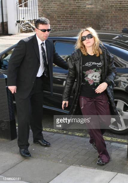 Madonna arrives at her gym wearing an Ed Hardy t-shirt in St Johns Wood on April 10, 2007 in London, England.