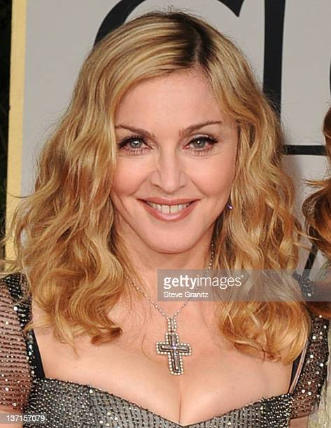 Madonna arrives at the 69th Annual Golden Globe Awards at The Beverly Hilton hotel on January 15 2012 in Beverly Hills California