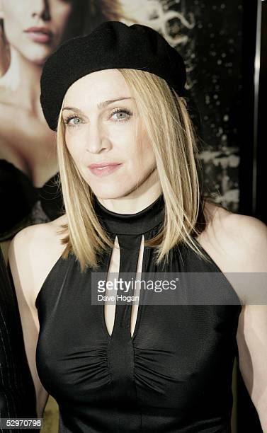 Madonna arrives at the UK Premiere of Sin City at Empire Leicester Square on May 23 2005 in London England