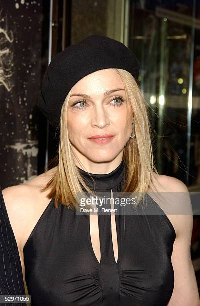 Madonna arrives at the UK premiere of Sin City at the Empire Leicester Square on May 23 2005 in London England