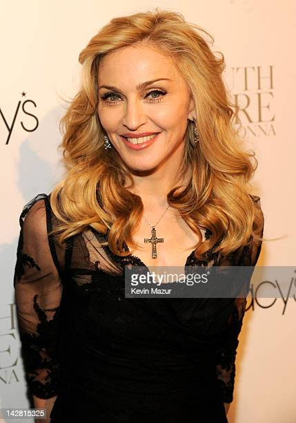 Madonna arrives for the launch of her first signature fragrance Truth Or Dare By Madonna at Macy's Herald Square on April 12 2012 in New York City