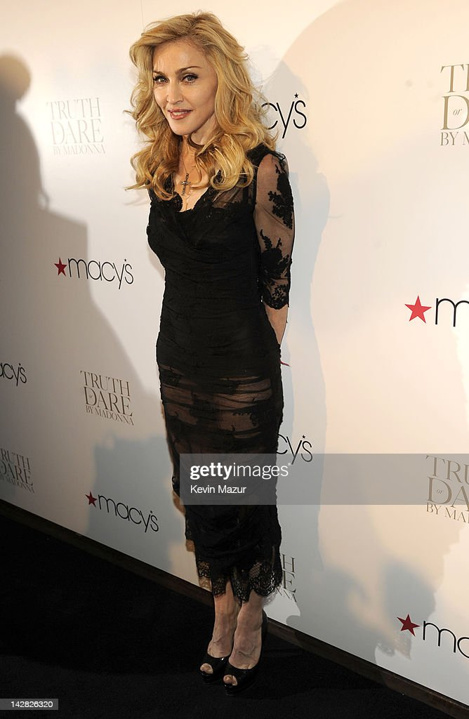 Madonna Launches Her First Signature Fragrance, Truth Or Dare By Madonna In NYC - Red Carpet : News Photo