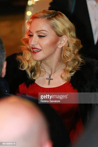 Madonna arrives to promote her new album on March 1 2015 in Milan Italy