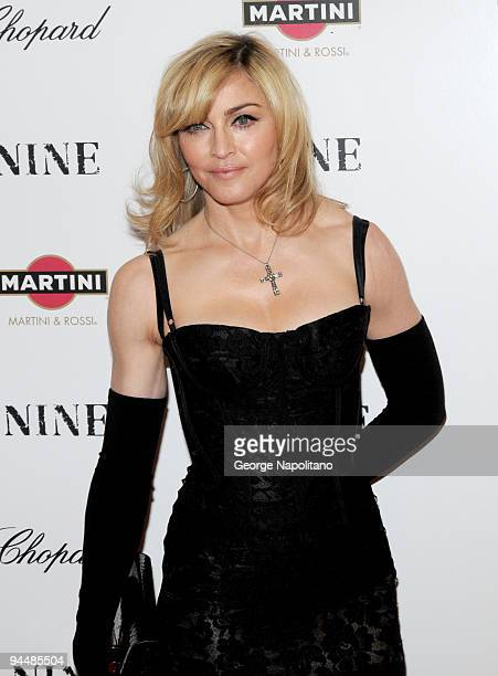 Madonna attend the premiere of 'Nine' at the Ziegfeld Theatre on December 15 2009 in New York City