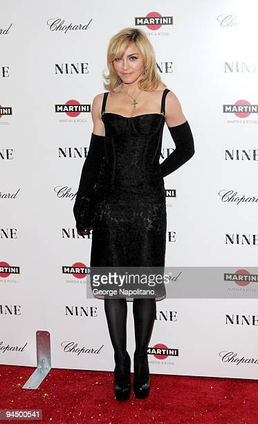 Madonna attend the premiere of Nine at the Ziegfeld Theatre on December 15 2009 in New York City