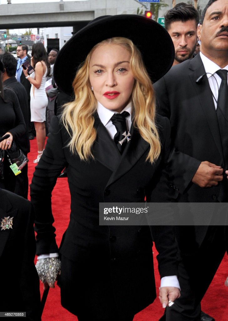 Madonna attends the 56th GRAMMY Awards at Staples Center on January 26, 2014 in Los Angeles, California.