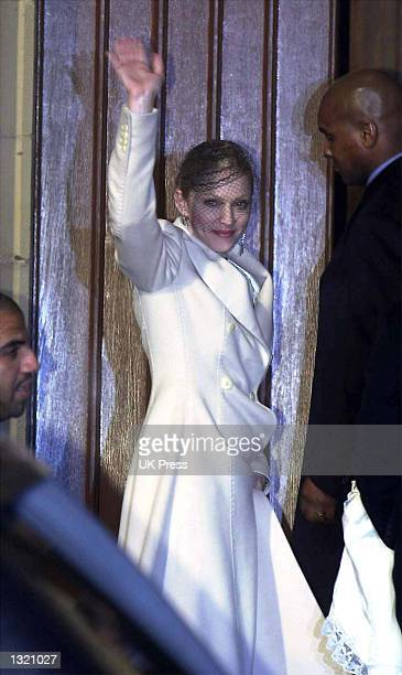 Madonna attends the baptism of her son Rocco at Dornoch Cathedral December 21 2000 in Scotland