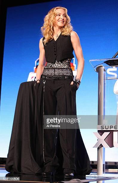 Madonna attends the Bridgestone Super Bowl XLVI Halftime Show Press Conference at the Super Bowl XLVI Media Center on February 2 2012 in Indianapolis...