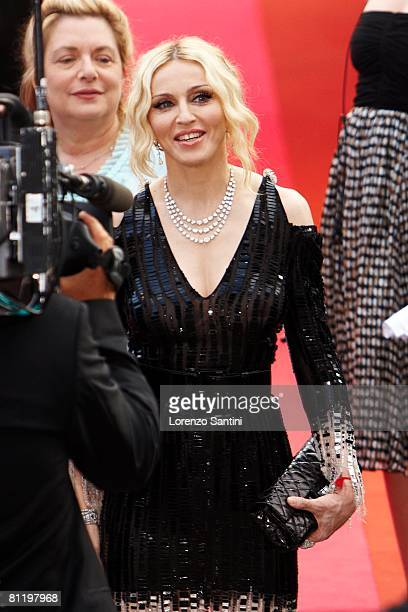 Madonna attends the Che premiere at the Palais des Festivals during the 61st International Cannes Film Festival on May 21 2008 in Cannes France