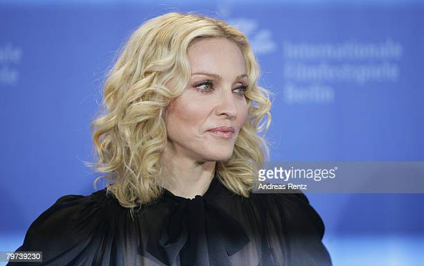 Madonna attends the 'Filth and Wisdom' Photocall as part of the 58th Berlinale Film Festival at the Grand Hyatt Hotel on February 13 2008 in Berlin...