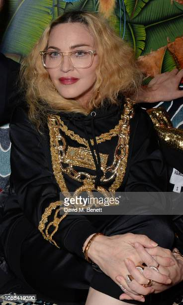 Madonna attends the Moschino [TV] HM London Launch Party hosted by Jeremy Scott at Annabels on November 6 2018 in London England