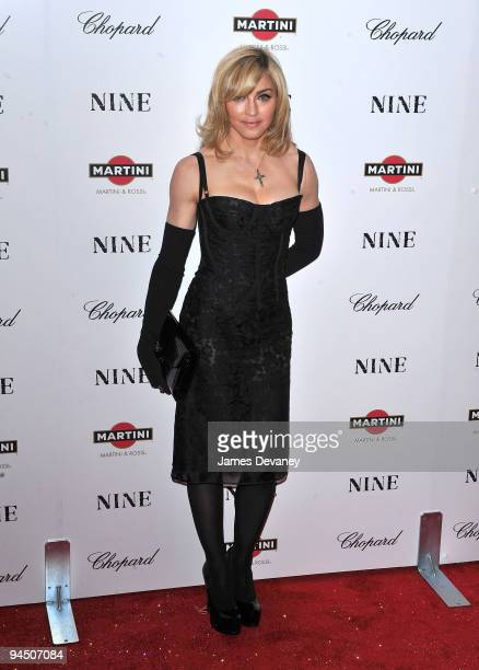 Madonna attends the New York premiere of 'Nine' at the Ziegfeld Theatre on December 15 2009 in New York City