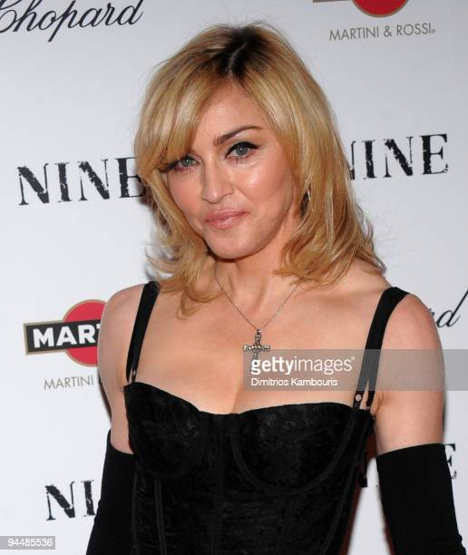 "Madonna attends the New York premiere of ""NINE"" sponsored by Chopard at the Ziegfeld Theatre on December 15, 2009 in New York City."