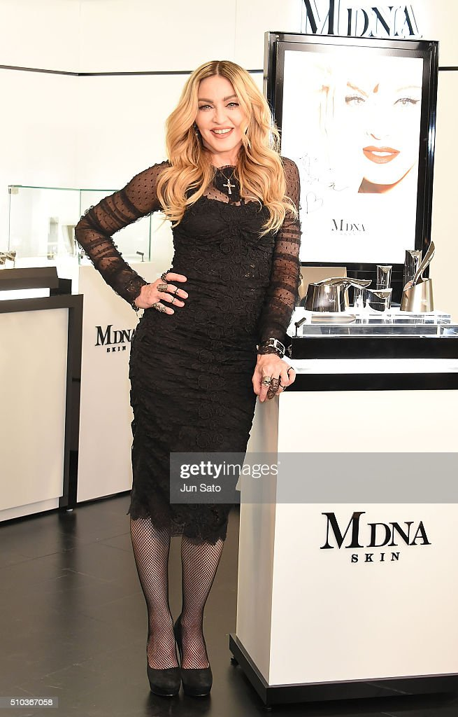 Madonna attends the promotional event for 'MDNA SKIN' on February 15, 2016 in Tokyo, Japan.