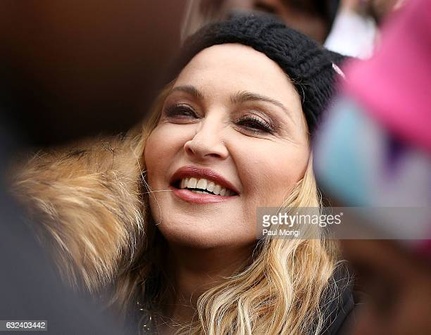 Madonna attends the rally at the Women's March on Washington on January 21 2017 in Washington DC