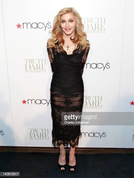 Madonna attends the Truth or Dare by Madonna fragrance launch at Macy's Herald Square on April 12 2012 in New York City