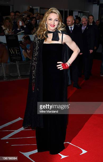 Madonna attends the UK premiere of WE at ODEON Kensington on January 11 2012 in London England