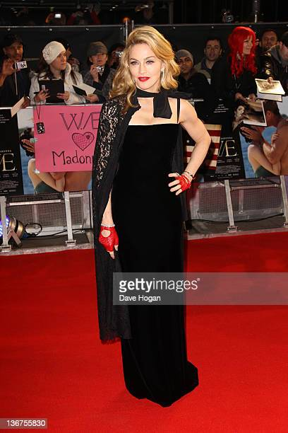 Madonna attends the UK premiere of WE at The Odeon Kensington on January 11 2012 in London United Kingdom