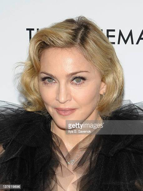 """Madonna attends The Weinstein Company with The Cinema Society & Forevermark premiere of """"W.E."""" at the Ziegfeld Theater on January 23, 2012 in New..."""
