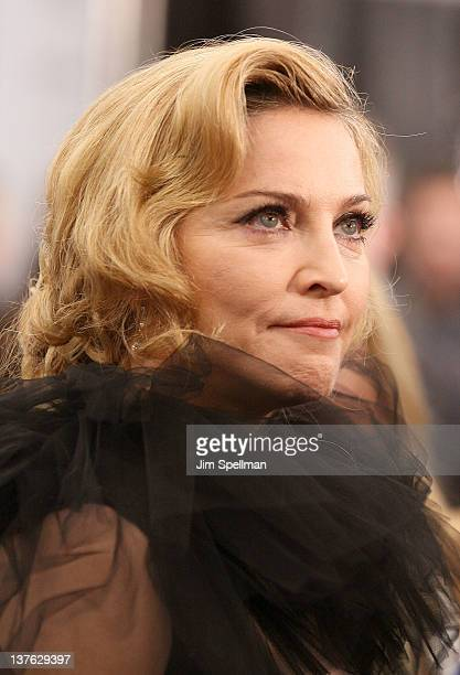 Madonna attends The Weinstein Company with The Cinema Society Forevermark premiere of 'WE' at the Ziegfeld Theater on January 23 2012 in New York City