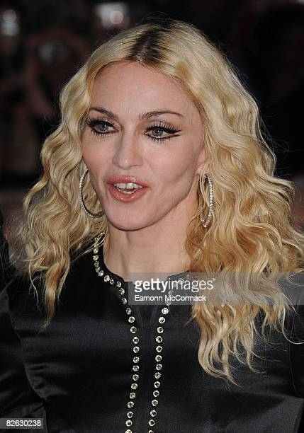 Madonna attends the world premiere of 'RocknRolla' at Odeon West End on September 1 2008 in London England