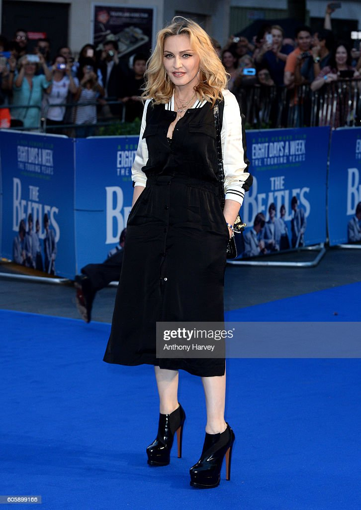 Madonna attends the World premiere of 'The Beatles: Eight Days A Week - The Touring Years' at Odeon Leicester Square on September 15, 2016 in London, England.
