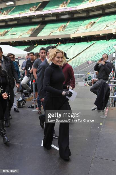 Madonna backstage behind the scenes at the 'Chime For Change The Sound Of Change Live' Concert at Twickenham Stadium on June 1 2013 in London England...