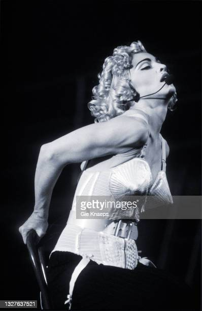 Madonna, Blonde Ambition Tour, She is wearing a Jean Paul Gaultier conical bra corset, Feyenoord Stadion, De Kuip, Rotterdam, Netherlands, 24 July...