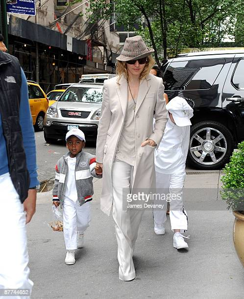 Madonna David Banda and Rocco Ritchie arrive to the Kabbalah Center in Manhattan on May 16 2009 in New York City