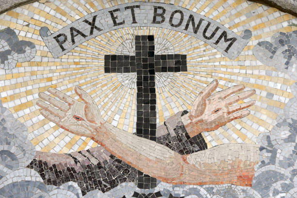 Madonna del Sasso church. Pax and bonum (Peace and good). Motto of the Order of Minor Friars founded by St. Francis of Assisi.