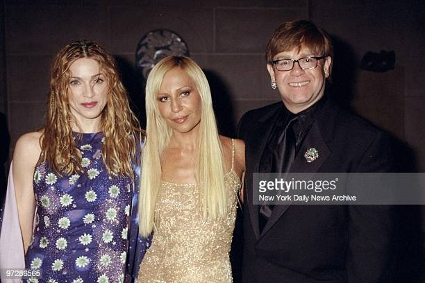 Madonna Donatella Versace and Elton John get together at the Metropolitan Museum of Art for opening of the Costume Institute's exhibition of the...