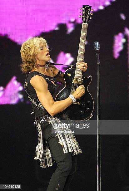 Madonna during Madonna Drowned World Tour 2001 Los Angeles at Staples Center in Los Angeles California United States