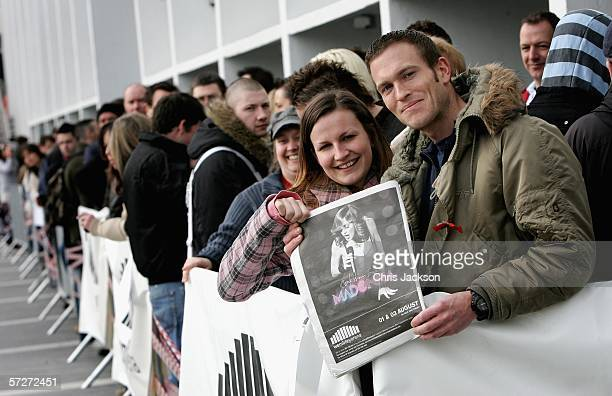 Madonna fans Rob Doman and Victoria Naish, numbers one and two in the queue are seen as they wait to be let through to get hold of the first tickets...