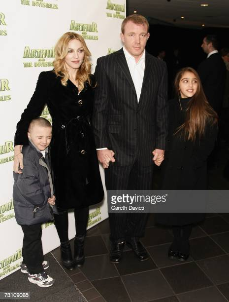 Madonna husband Guy Ritchie daughter Lourdes and son Rocco arrive at the UK premiere of 'Arthur And The Invisibles' at Vue cinema Leicester Square on...