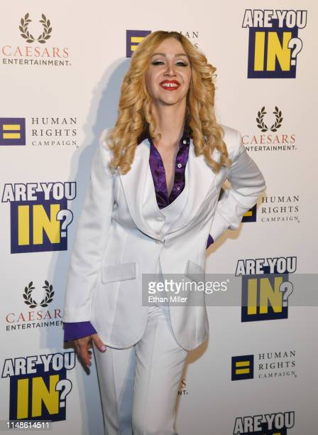 """Madonna impersonator Coty Alexander from the tribute show """"Blond Invasion"""" attends the Human Rights Campaign's 14th annual Las Vegas Gala featuring a..."""