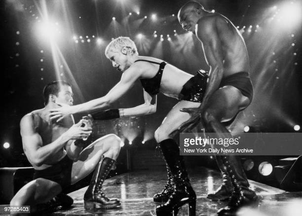Madonna in concert at Madison Square Garden during 'The Girlie Show' tour