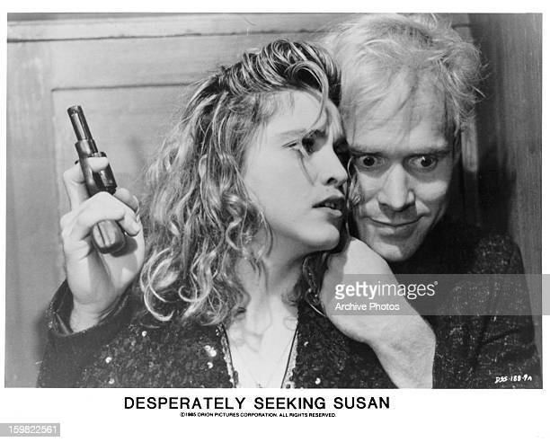 Madonna is held captive by Will Patton in a scene from the film 'Desperately Seeking Susan' 1985