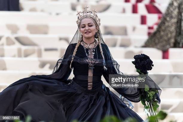 Madonna is seen arriving to the Heavenly Bodies Fashion The Catholic Imagination Costume Institute Gala on May 7 2018 in New York City
