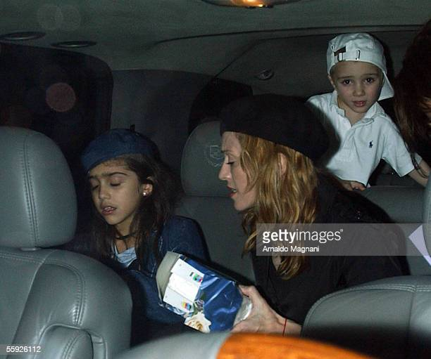 Madonna is seen getting in the car with her daughter Lourdes and her son Rocco after leaving the Kabbalah center October 14 2005 in New York City...