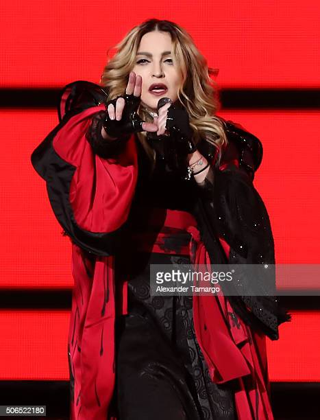 Madonna is seen performing on stage during her Rebel Heart Tour at AmericanAirlines Arena on January 23 2016 in Miami Florida