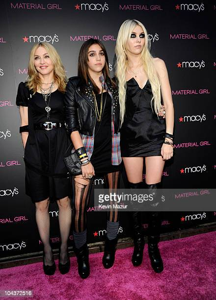"""Madonna, Lola Leon and Taylor Momsen attend the launch of """"Material Girl"""" at Macy's Herald Square on September 22, 2010 in New York City."""