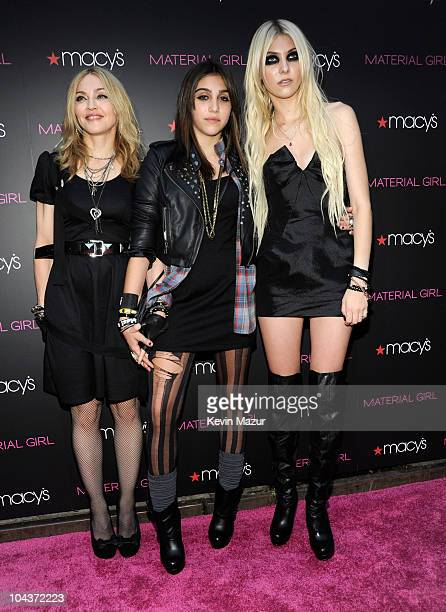 """Madonna, Lola Leon and Taylor Momsen attends the launch of """"Material Girl"""" at Macy's Herald Square on September 22, 2010 in New York City."""
