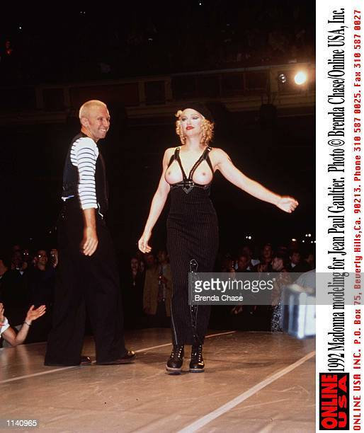 Madonna modeling for Jean Paul Gaultier
