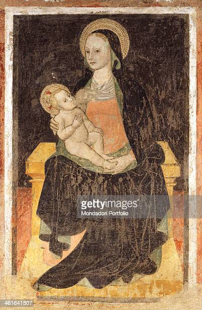 Madonna of the Milk by unknown artist 1280 1320 13th 14th century detached fresco Italy Lombardy Milan Basilica of Saint Eustorgius Whole artwork's...