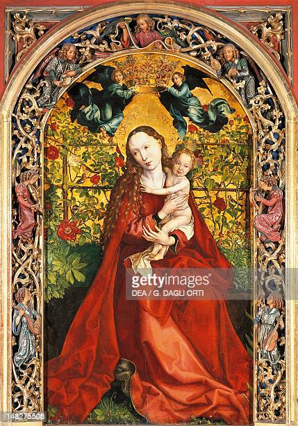 Madonna of the Rose Garden by Martin Schongauer , panel, 200x115 cm. Church of the Dominicans, Colmar, France. ; .