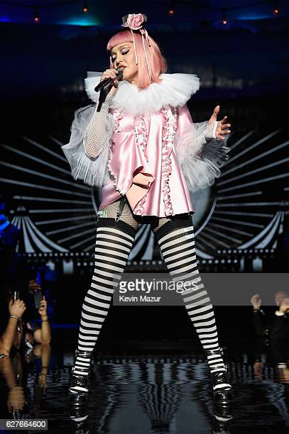 Madonna on stage during her Evening of Music, Art, Mischief and Performance to Benefit Raising Malawi at Faena Forum on December 3, 2016 in Miami...