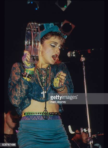 Madonna on stage for her 1985 Virgin Tour